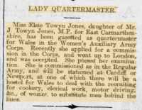 Report of Elsie becoming a WAAC 'Official'', Carmarthen Journal 19th Oct 1917.