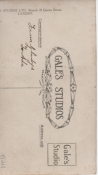 Reverse of photograph, taken at  Gale's Studios Ltd, Queen's Street, Cardiff, inscribed 'To Ada From Glady's.