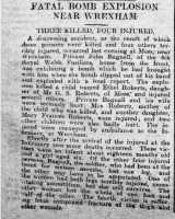 Report of the shell explosion that killed four girls and injured three adults, North Wales Chronicle 10th March 1916